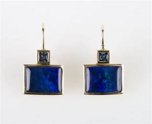 A Pair of 14 Karat Yellow Gold Sapphire and Black Coated Opal Earrings