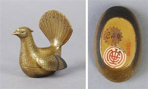A Japanese Peacock Form Lacquer and Gilt Box