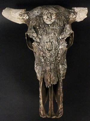 Figural  Animal Motif Carved Bull Skull