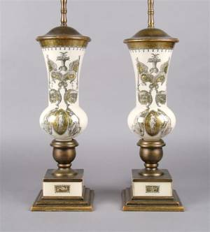 A Pair of Interior Painted Glass Baluster Vases