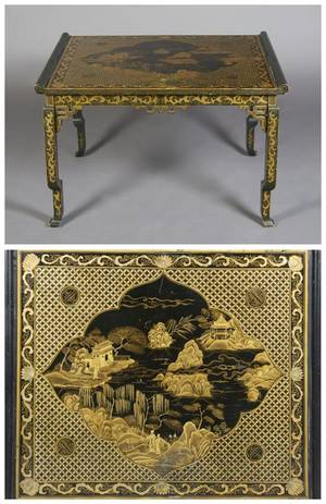 A Chinese Lacquered and Parcel Gilt Low Table