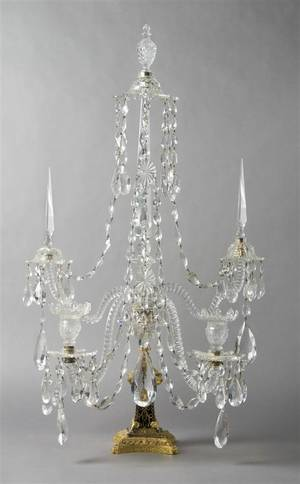An English TwoLight Crystal and Cobalt Glass Candelabra attributed to Parker and Perry