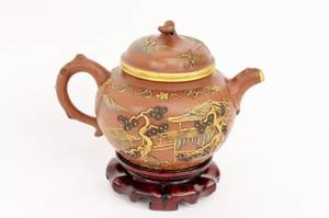 Chinese Yixing Gilt Teapot on Stand