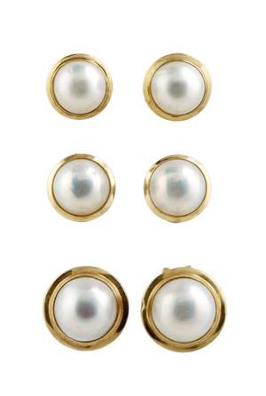 A Group of Three Pairs of Mabe Pearl Earrings