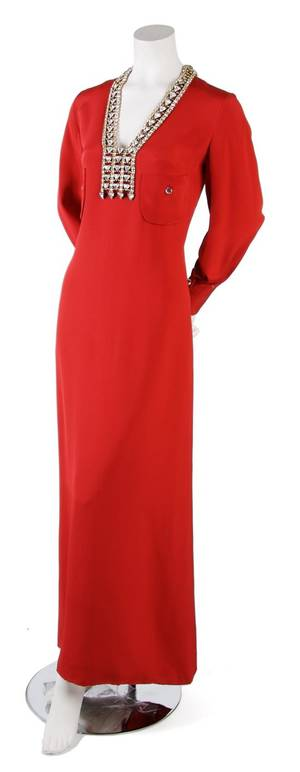 A Galanos Red Full Length Evening Gown