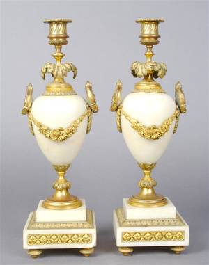 A Pair of Louis XVI Style Gilt Metal Mounted Marble Candlesticks