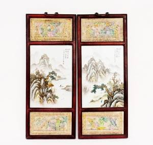 Pair of Chinese Porcelain  Ceramic Panels