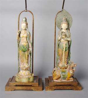 A Pair of Chinese Pottery Tomb Figures