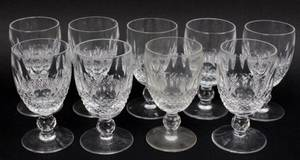 Set of 9 Waterford Crystal Claret Glasses