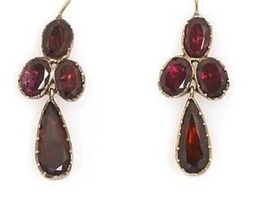 A Pair of Yellow Gold and Garnet Earrings Late Georgian
