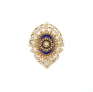 A 14 Karat Yellow Gold Seed Pearl Enamel and Diamond BroochPendant