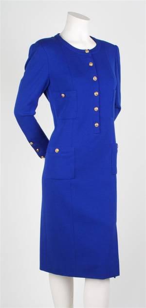 A Chanel Cobalt Blue Wool Suit Dress