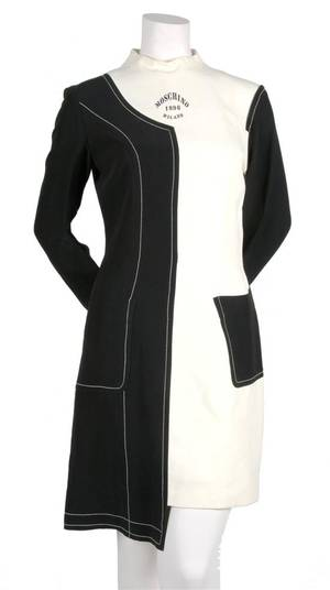 A Moschino Black and White Half SuitHalf Dress