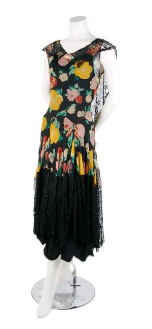 A Floral Silk Chiffon and Black Lace Dress
