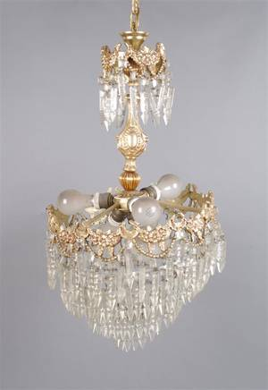 A Neoclassical Style Gilt Metal Light Fixture