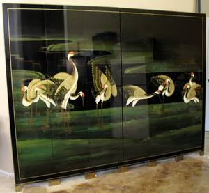 Black Lacquered Six Panel Oriental Screen wCranes