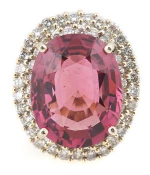 An 18 Karat White Gold and Pink Tourmaline Ring