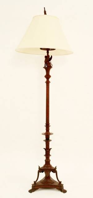 Empire Style Cast Iron Floor Lamp w Sphinx