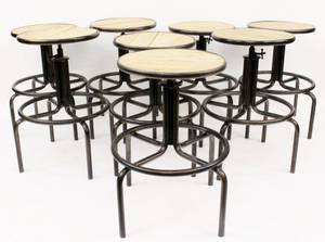 Set of Eight Steel Framed Wooden Stools