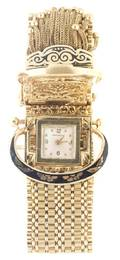 A 14 Karat Yellow Gold Bracelet Watch Navarre