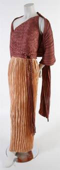 A Mary McFadden Peach and Mauve Fortuny Pleat Three Piece Evening Gown