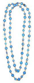 A Chanel Blue Crystal Sautoir
