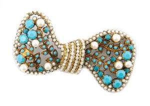 A French Turquoise and Pearl Bow Brooch