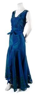 A French Couture Blue Silk Taffeta Dress
