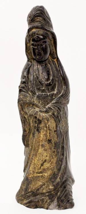 Chinese Black Stone Carved Quanyin