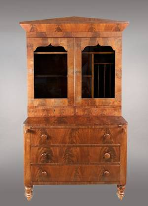 American Empire Mahogany Secretary Bookcase