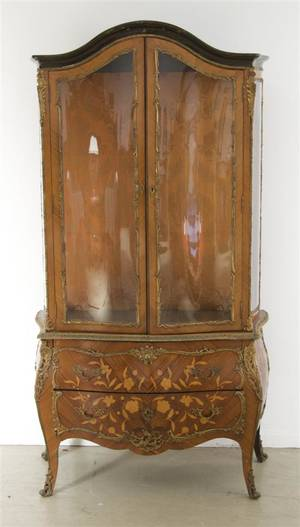 A Louis XVI Style Gilt Metal Mounted Marquetry Vitrine Cabinet