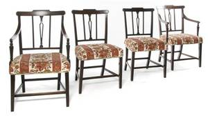A Set of Eight Hepplewhite Style Dining Chairs