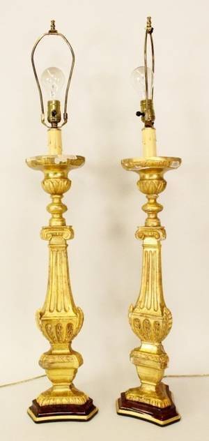 Pair of 19th C Carved Gilt Wood Lamps