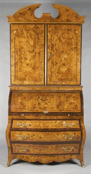 A Continental Marquetry Cylinder Secretary Bookcase
