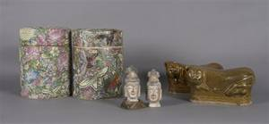 A Pair of Chinese Ceramic Figural Pillows