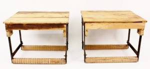Pair of Pine  Steel Cart Tables