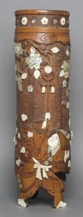 A Japanese Inlaid Bamboo Vase