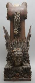 A Japanese Carved Wood Figure of a Demon