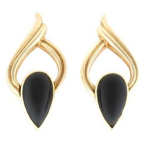 A Pair of 14 Karat Yellow Gold and Onyx Earrings