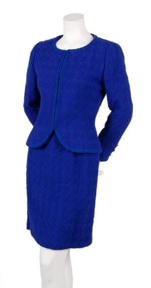 A Chanel Couture Cobalt Blue Wool Suit
