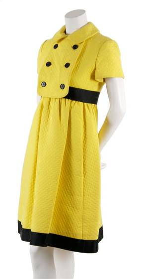 A Geoffrey Beene Yellow Quilted Day Dress