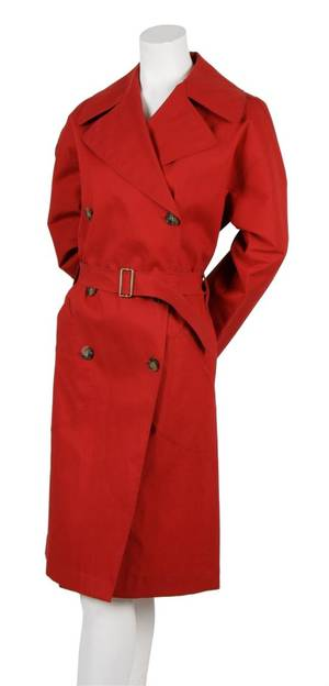 An Alaia Red Cotton Trench Coat