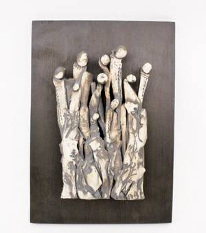 Pottery Figural Plaque by Inky Hwang