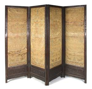 A Chinese Four Panel Floor Screen