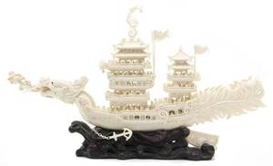 A Chinese Ivory Model of a Dragon Boat