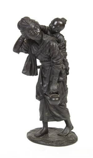 A Japanese Bronze Figural Group