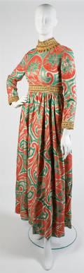 An Oscar de la Renta Red and Green Brocade Evening Gown