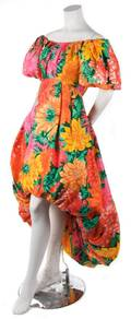 A Scaasi Floral Print Evening Gown