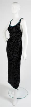 A Gianni Versace Black Cut Velvet Evening Gown