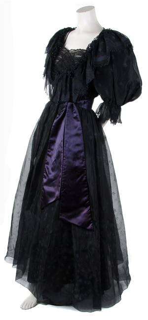 A Zandra Rhodes Black Silk Evening Gown